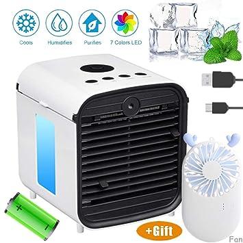 bianco Air Cooler Portable Condizionatore Silenzioso Raffreddatore dAria Evaporativo Umidificatore Purificatore Daria,7 Colore LED|USB Cooler per Casa Ufficio Camper