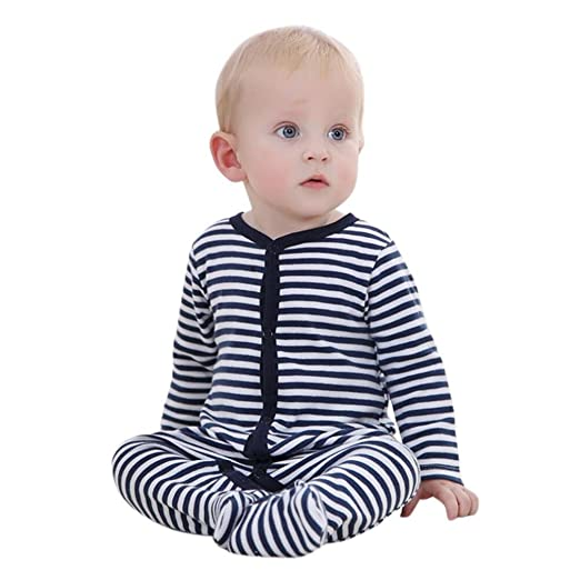 7c996f66b8a3 Amazon.com  Winsummer Baby Girl Cotton Stripe Footie Jumpsuit ...