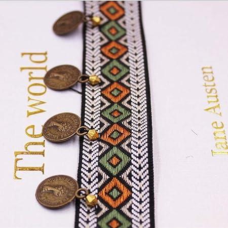 EVEYYLS 1 Yardas/Lote Borla de Cobre Ribete de Encaje Tela de algodón Bohemio Cinta de Encaje Franja Recortes de Costura Ropa de Costura Cortinas Accesorios, 1. SG-095: Amazon.es: Hogar