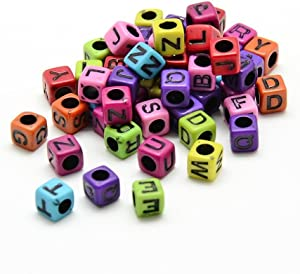 AMZ Beads - Pack of 500 Beads! Acrylic Assorted Multi-Colored Alphabet Letter Loose Cube Beads 6mm - Hole: 3.5mm