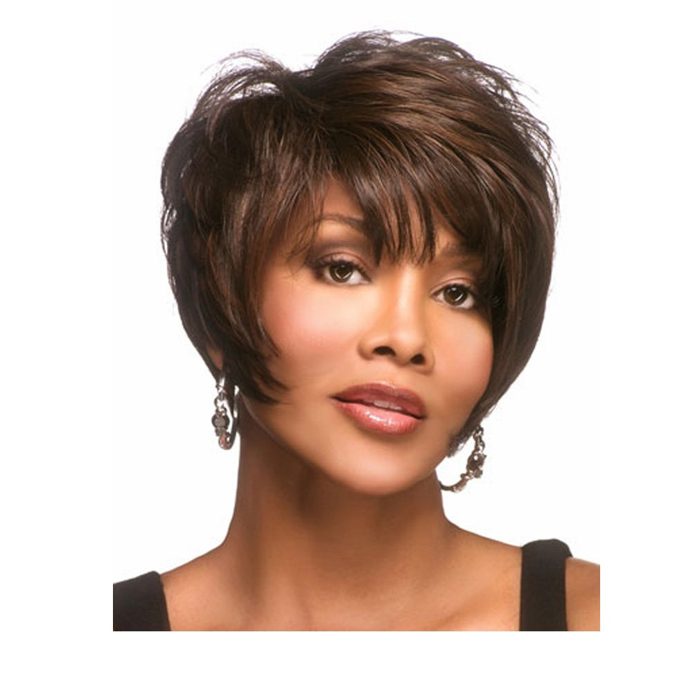 LEJIMEI Short Curly Wigs with Bangs-Black Mixed Brown Synthetic Hair Wigs Natural Fashion Party Wigs for African American Women Full Wig + Wig Cap AISHILI