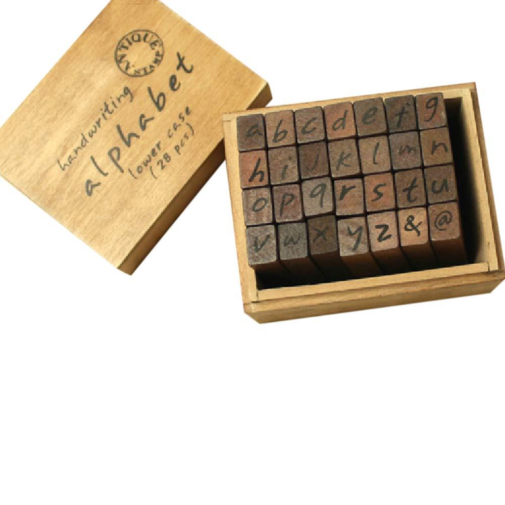 28pz stile Vintage alfabeto lettere numero simbolo timbri timbro sigilli scatola di legno
