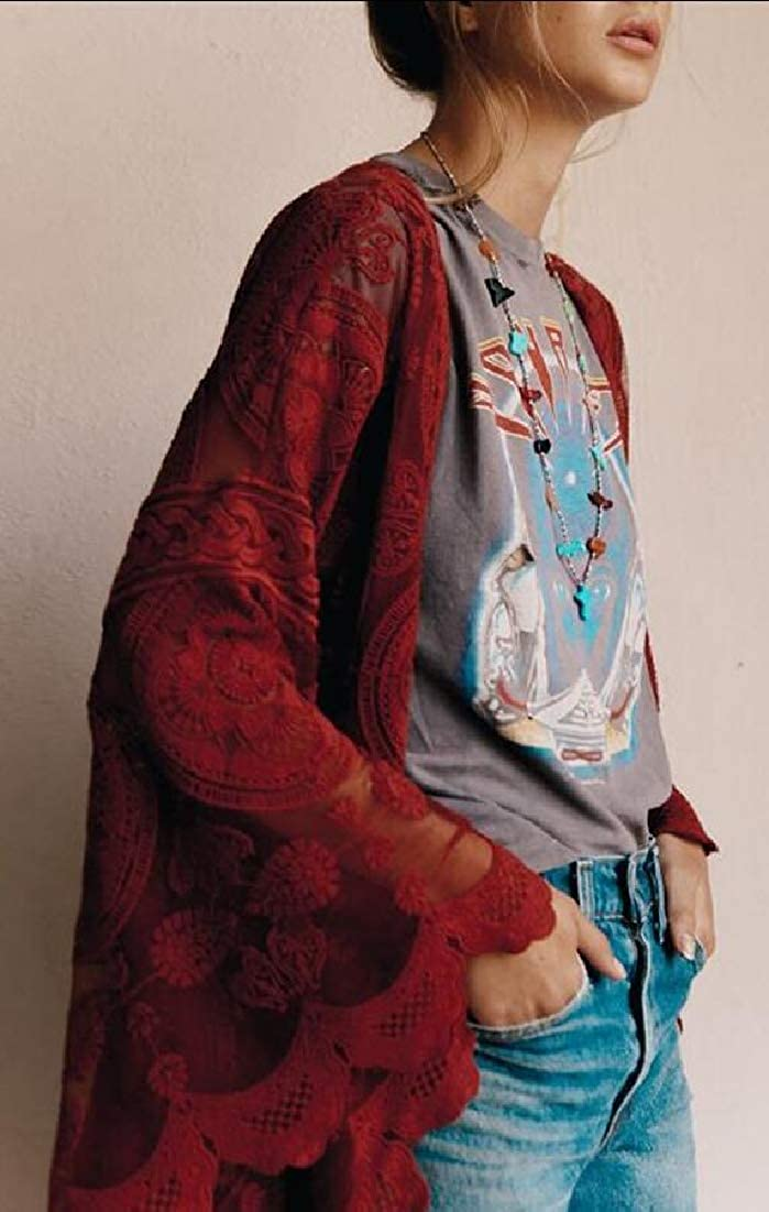 omniscient Women Lace Long Beach Dress Tunic Swimwear Kimono Cardigan Bikini Cover up