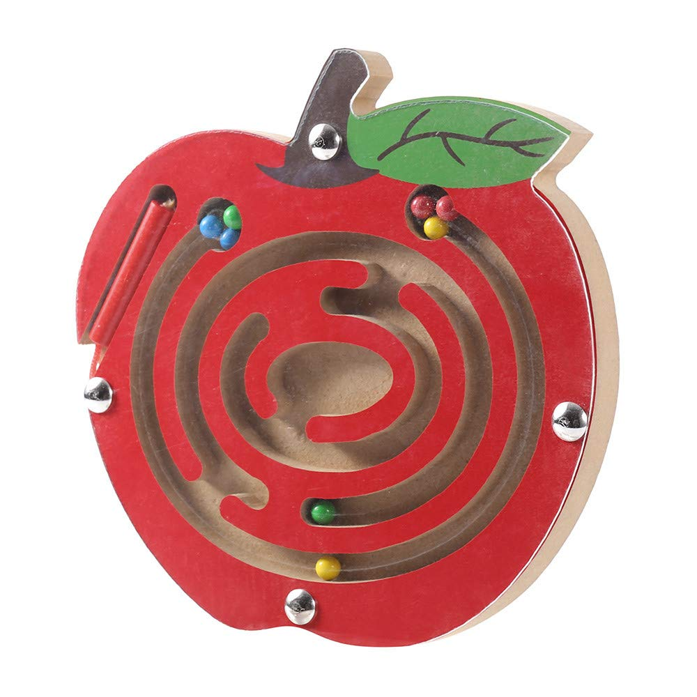 Lotus.Flower Wooden Toys Magnetic Puzzle Board, Wooden Fruits Magnetic Maze Puzzle Activity Intellectual Jigsaw Board Game, Xmas Gift for Boys & Girls (C)