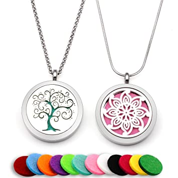 Amazon Com Two Lademayh Essential Oil Diffuser Necklaces Pendant