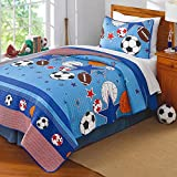 3 Piece Kids Blue Sports Theme Queen Size Pattern Patchwork Quilt,White Orange Red Football Soccer Basketball Volleyball, Active Stars Horizontal Stripes Sport, Cotton, Microfiber
