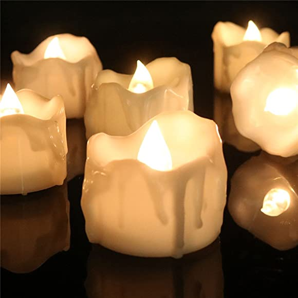Allcute 24pcs Wax-drip Warm White Timer Electric Tea Light Unscented Battery Operated Plastic Flameless Candles Bulk for Halloween Jack O Lantern D cor