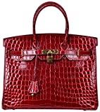Cherish Kiss Padlock Bag Women Crocodile Leather Top Handle Handbags (30 Croco Claret)