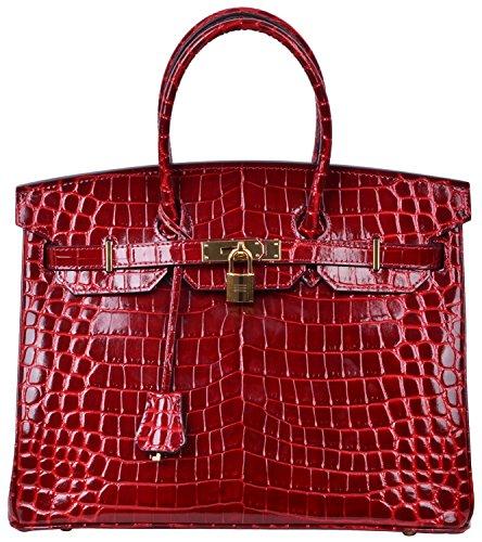 Cherish Kiss Padlock Bag Women Crocodile Leather Top Handle Handbags (30cm, (Crocodile Handbag)