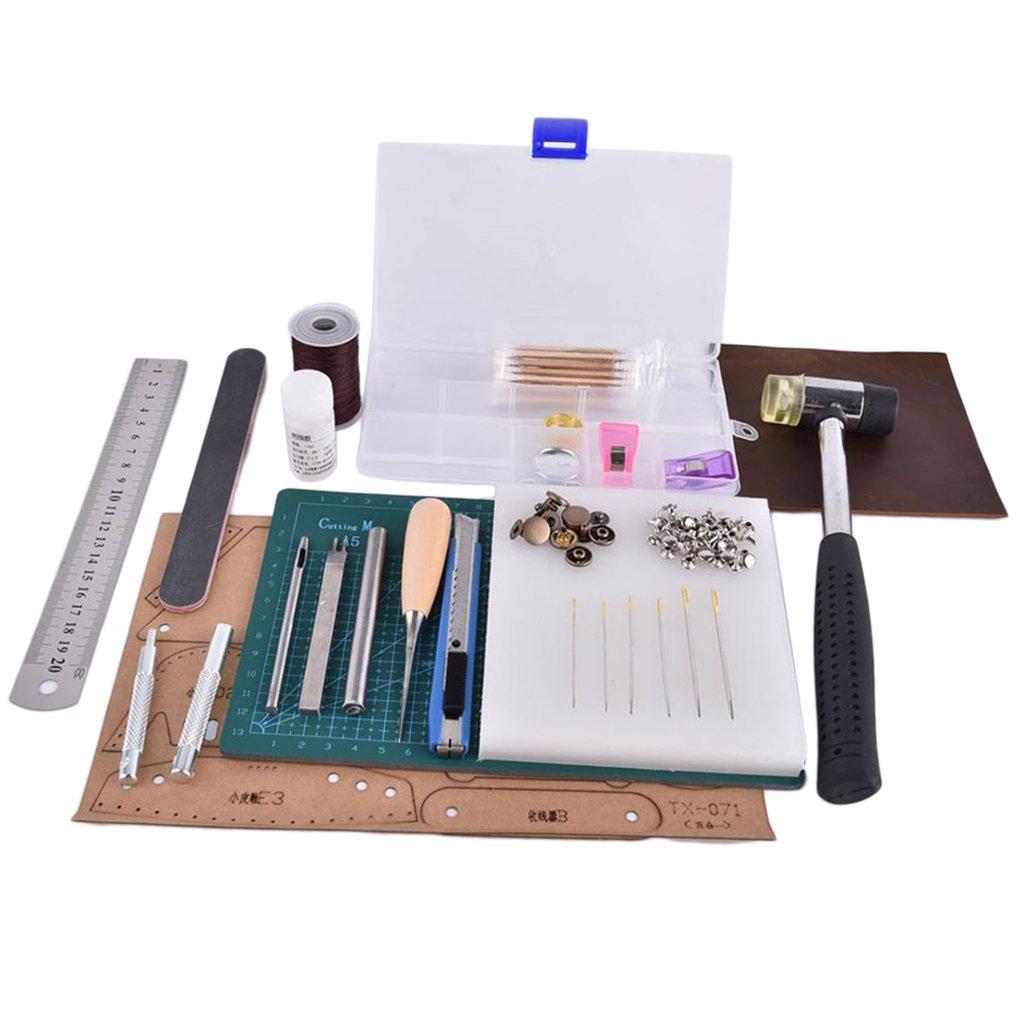 F Fityle Leder Handwerk Handwerk Handwerk Werkzeugsatz Schneidematte Nylonhammer Stanzen Punch DIY Lederarbeit Werkzeug Set B07MKXLPNK | Sale  27920a
