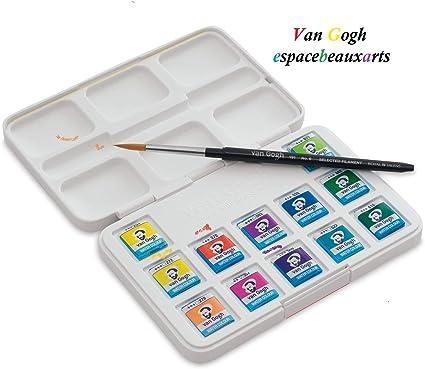 Van Gogh – acuarela Van Gogh colores vivos, 12 bodetes vibrantes, de alta calidad + 1 pincel.: Amazon.es: Oficina y papelería