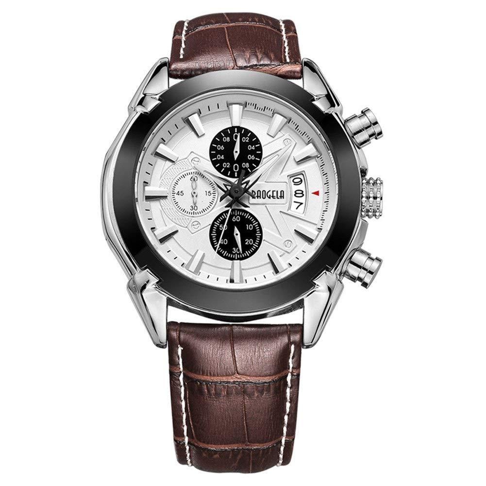 ZEZHE Men's Watch Fashion Casual Stainless Steel Multifunction Quartz Watch Waterproof Calendar Leather Strap Classic Luminous Watch (Color : White) by ZEZHE