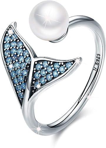 FOREVER QUEEN Pendientes Anillos Sirena, Plata de Ley 925 con Circonita cúbica Azul y Perlas, Viene con Caja de Regalo de Joyería