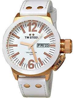TW Steel Mens CE1035 CEO White Leather Strap Watch