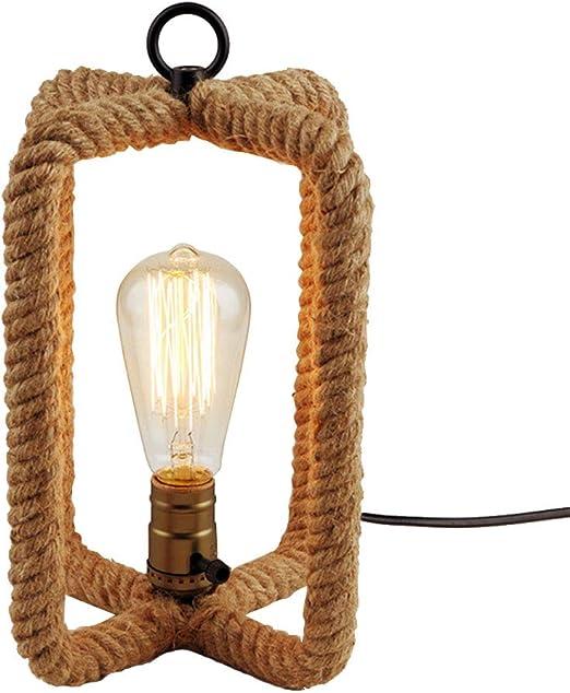 HONGOU Lámpara De Mesa Vintage Cuerda De Cáñamo E27 Diseño ...