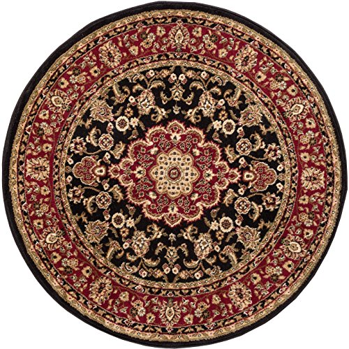 - Well Woven Barclay Medallion Kashan Black Traditional Area Rug 7'10'' Round