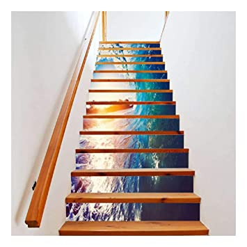 SERFGTFH Escaliers Bois Soleil Mer Autocollants Pont 3D ...
