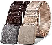 Mens Belt 2 Units,Bulliant Military Tactical Nylon Belt Metal Free for Men Sports Golf Outdoor