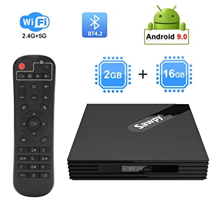 Sawpy S2 android 9 0 tv box 2GB ram 16GB rom 4K 2 4GHz/5GHz Dual WiFi  Bluetooth 4 2 Smart TV Box 64bit Quad core Cortex A53 (RK3318)