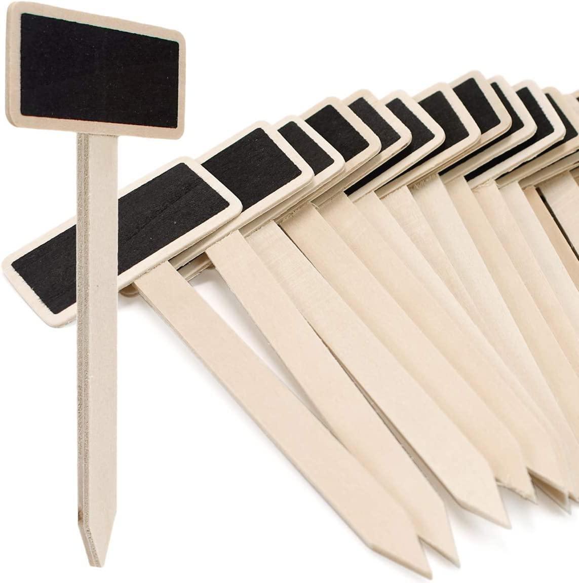 ZIIYAN 20pcs Mini Wood Chalkboard Stakes, Wooden Garden Plant Markers Tag Labels