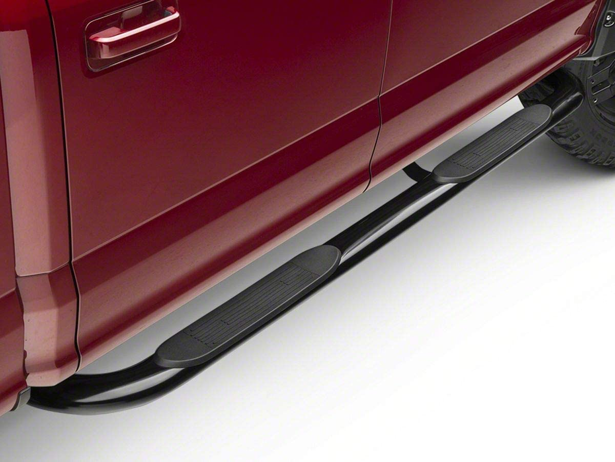 Barricade 4 Side Step Bars in Gloss Black Oval Straight End Fits Ford F-150 Regular Cab 2009-2014