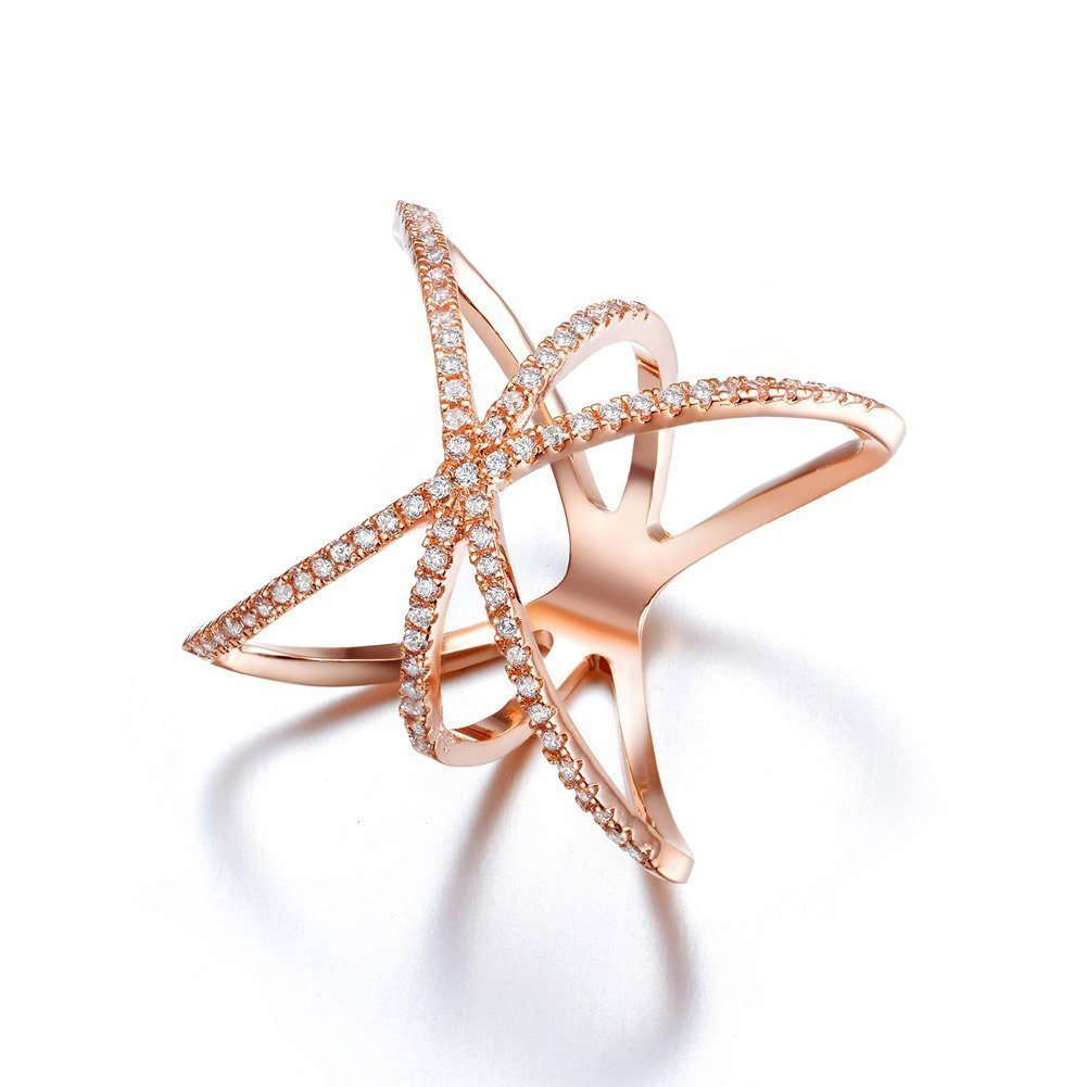 Redbarry Trendy Cross X Shaped Mid Finger Rings with Tiny CZ Paved in 18k Rose Gold Plated, Size 9