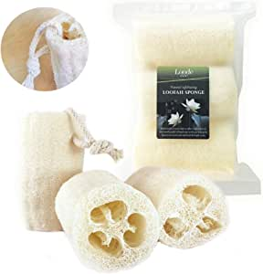 Natural Eco friendly Biodegradable Loofah Sponge - 3 Pack Large - Premium Quality - Back Body Scrubber - Cleansing and Exfoliating - for Men Women Bath Shower