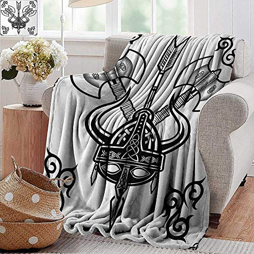 Sand Free Beach Blanket,Viking,Helmet with Horn Arrow Axe Antique War Celtic Style Medieval Battle Art Prints,Black White,Soft Summer Cooling Lightweight Bed Blanket 70
