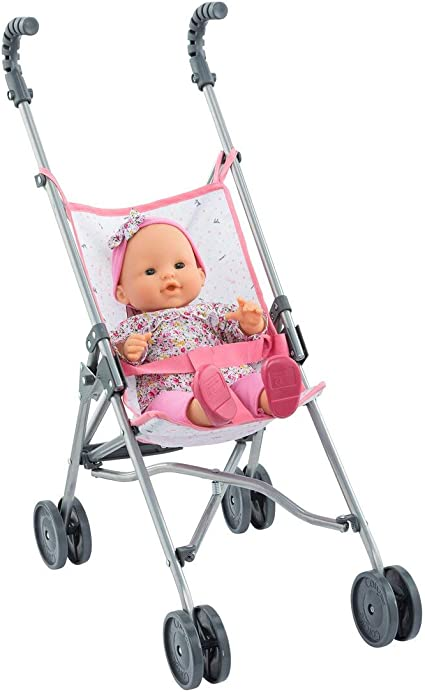 Folding with 2 Locking Points for Safety Pink for Mon Grand Poupon 14 and 17 Dolls 9000140720 Corolle Umbrella Baby Doll Stroller