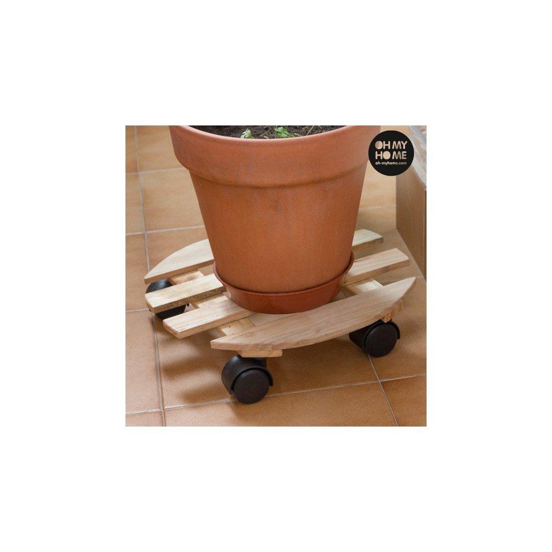 Support en Bois avec Roues pour Pots de Fleurs Oh My Home V0201127