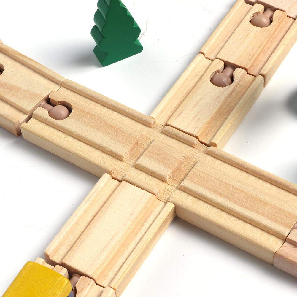 Wooden Train Set Toy with Double-Side Train Tracks Magnetic Trains Cars /& Accessories for 3 Year Olds and Up Train Track Toy