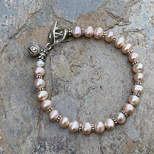 (Pink Pearl and Silver Bracelet with Hill Tribe Silver)