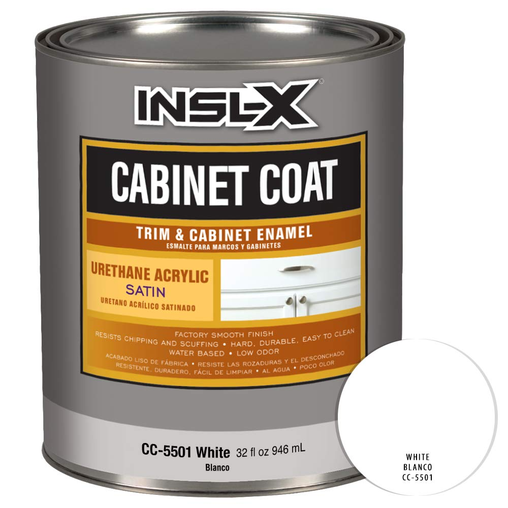 Amazon.com: INSL-X CC550109A-44 Cabinet Coat Enamel, Satin Sheen Interior Paint 1 Quart White: Home Improvement