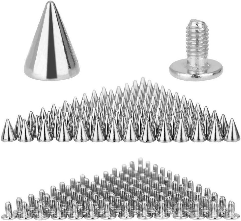 POWERTOOL - Remaches punk Spike, 100 picos cónicos de 10 mm x 7 mm con personalidad punk remache para cinturón bolso de cuero, artesanía en cuero: remaches, negro