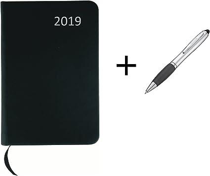 mit PU Einband ca DIN A7 Taschenkalender 2020 Farbe schwarz