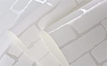 Amazoncom Removable Peel and Stick 3D White Brick Wallpaper Mural