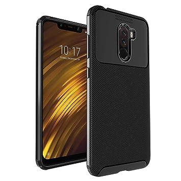 Anjoo Compatible para Funda Xiaomi Pocophone F1, Carcasa Pocophone F1 Carbon Fibre Texture Suave y Flexible TPU Silicona Cases Parachoques Protectora ...
