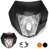 JFG RACING Black Universal Headlight Head Lamp Light Fairing Street Fighter Mask Day Running Light For ATV Scooters Dirt Pit Bike Enduro