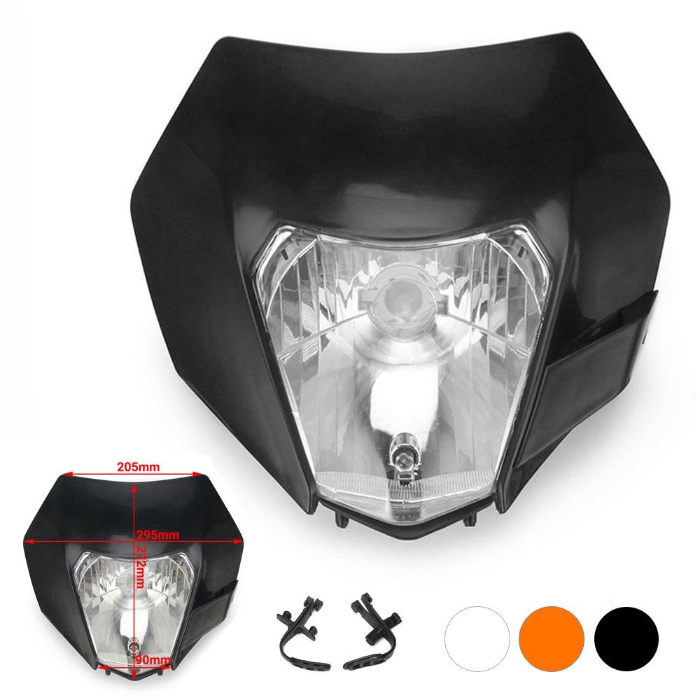 JFG RACING Orange Universal S2 12 V 35 Watt Motorrad Halogen Scheinwerfer Kopf Lampe Licht Verkleidung Fü r Schmutz Pit Bike