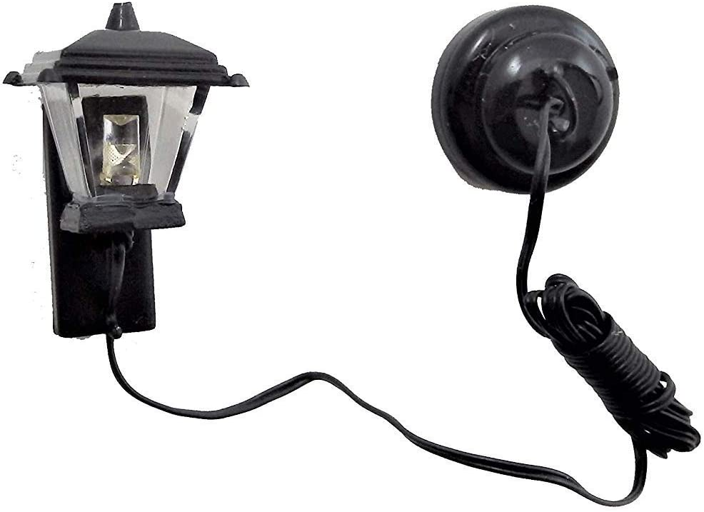Dollhouse Miniature Battery Operated Black Sconce with Soft White Bulb