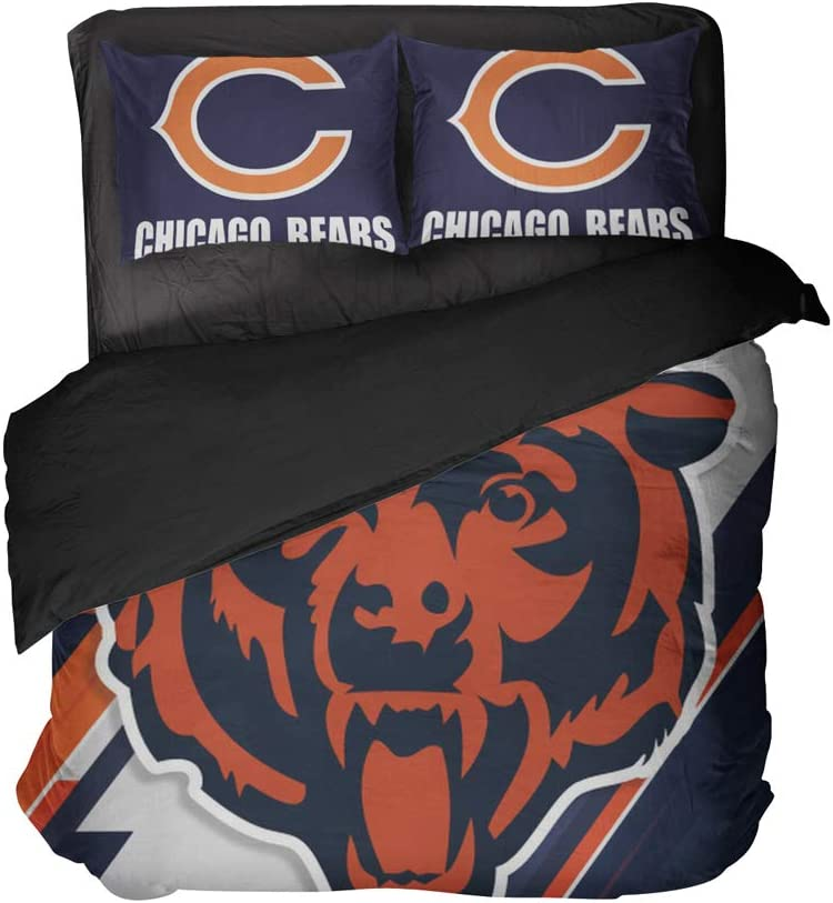 Magaport American Football Bedding Bears Bed Sheets Men Duvet Cover 3D Printed Sports Team Pillowcase Sets for Teens Boys (Blue, Queen 3pcs)
