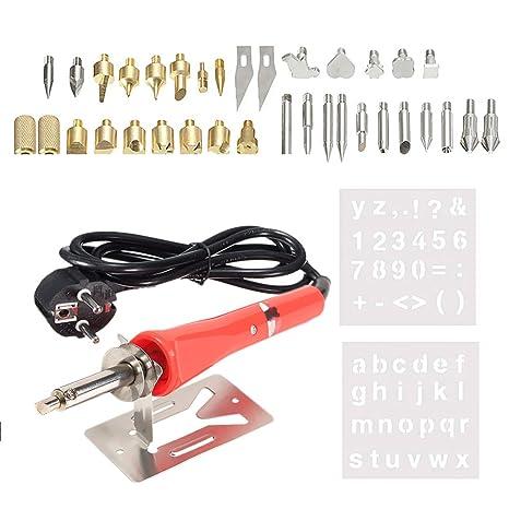 37 PCS soldador de hierro de pirografía kit de herramienta de artesanía de soldadura de madera ...