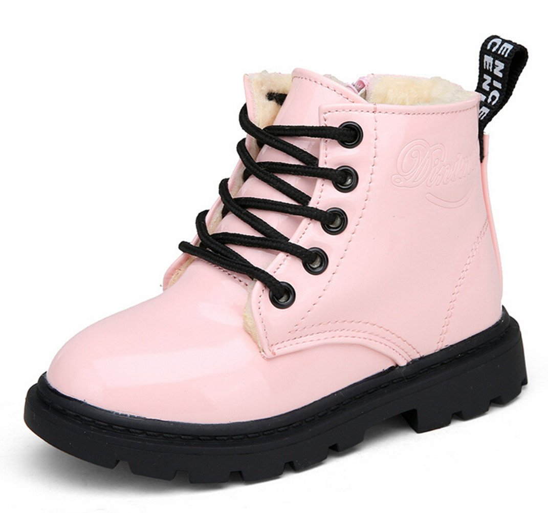 Bumud Boy's Girl's Waterproof Lace-Up Martin Boots Winter Warm Shoes (12 M US Little Kid, Pink)