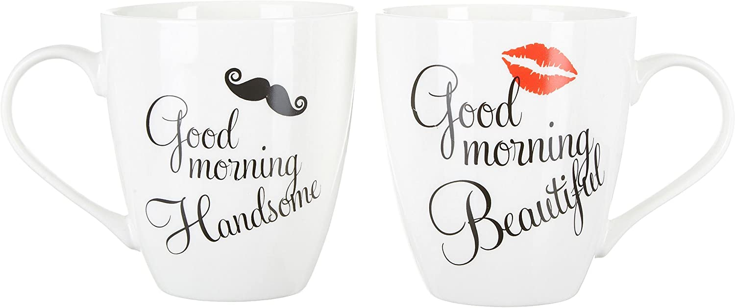 Image of two mugs for couple with Good morning print, color white.