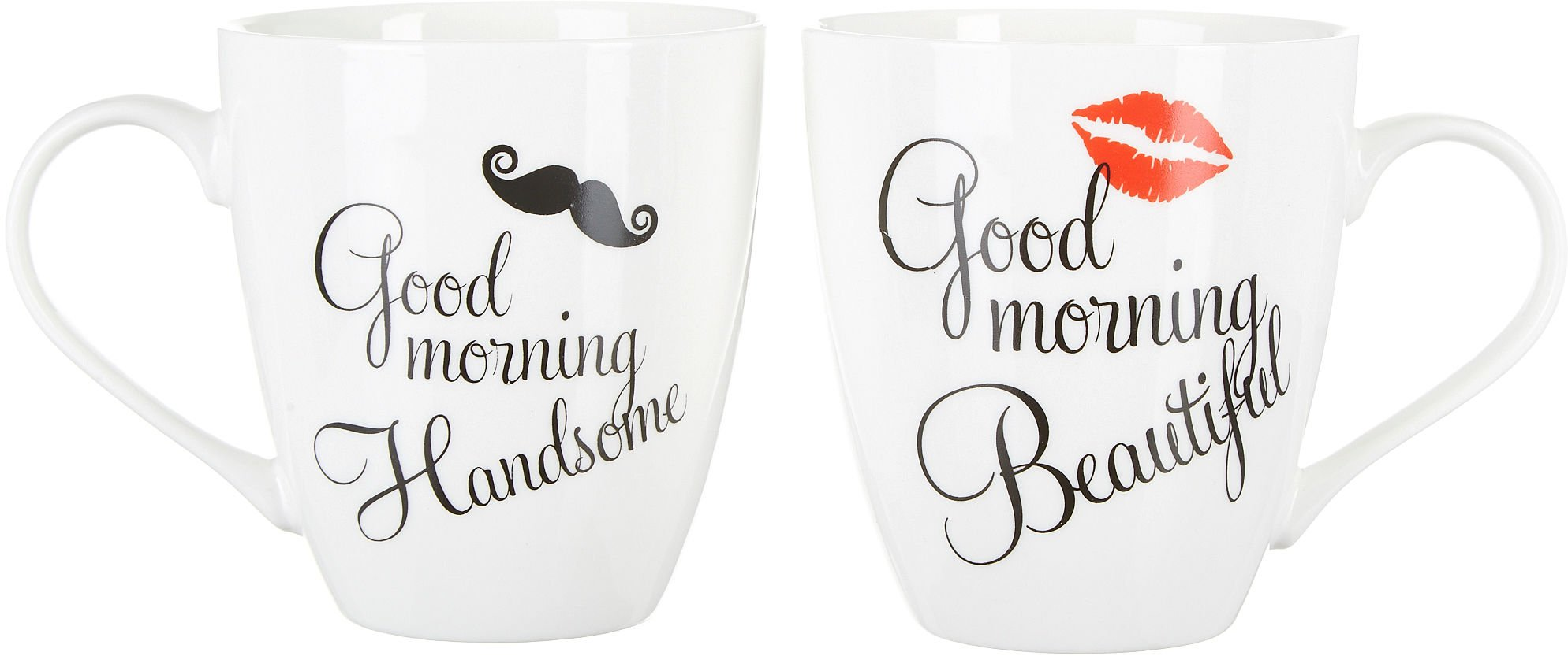 Pfaltzgraff Good Morning Beautiful and Handsome 18 Oz. Mug Set in Black and White by Pfaltzgraff Everyday by Pfaltzgraff Everyday
