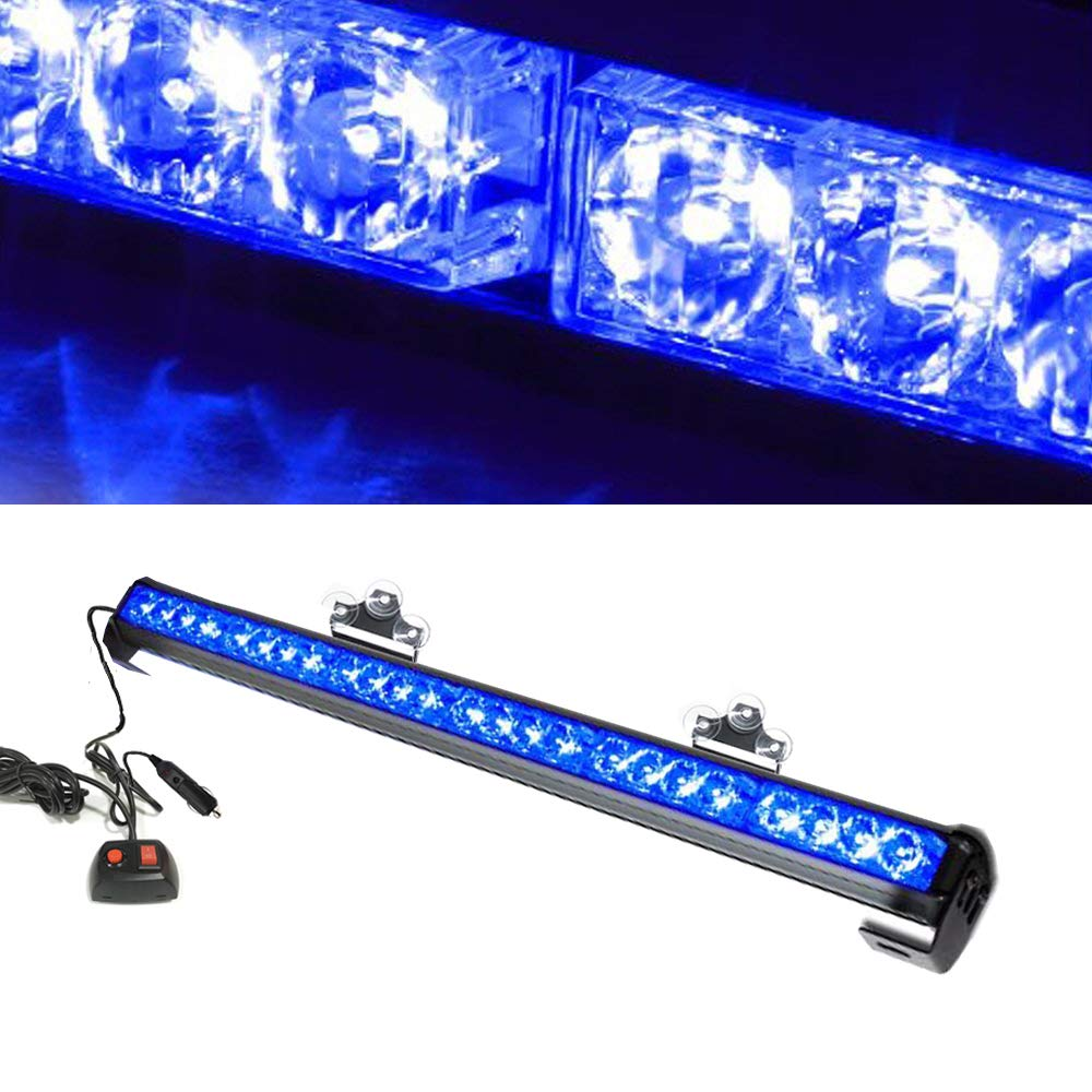 Bullshark 16LED 18 Emergency Hazard Traffic Advisor Strobe Police Warning with Cigar Flash Strobe Light Bar Blue