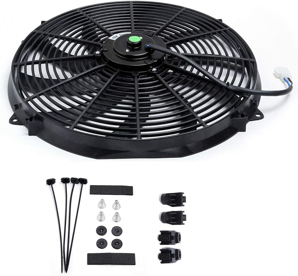 Engine Radiator Cooling Fan 16 Inch Curved Blade Ultra Thin Universal High Performance 12V 120W Motor,With Fan Mounting Kit(Puller and Pusher Design)