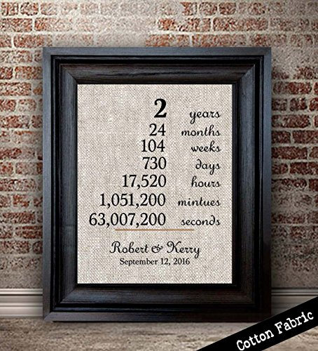(Personalized Cotton Anniversary Gift For Wife | 2nd Anniversary Gift For Wife | 2 Year Anniversary Gift for Husband | Keepsake Anniversary Gift)