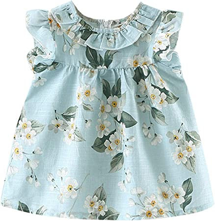 Goodtrade8/® Toddler Baby Girl Summer Floral Princess Dress Infant Kids Ruffle Sleeve Clothing
