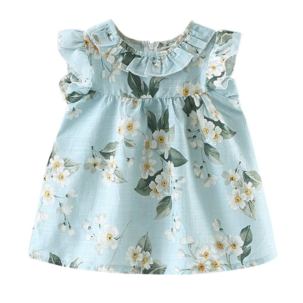 Baby Girls Cute Princess Dress Ruffle Sleeveless Flora Print Tutu Pageant Skirt Summer Clothes